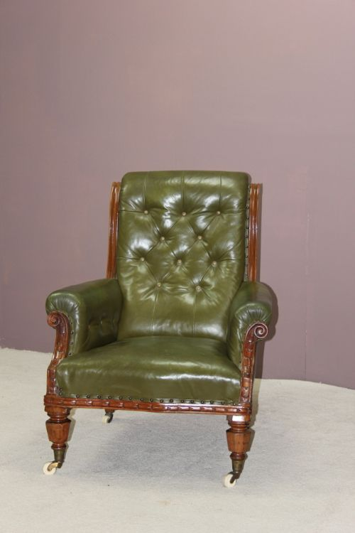 victorian mahogany scroll back library armchair
