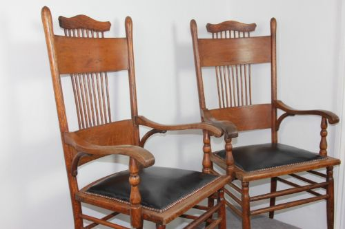 a magnificent pair of victorian oak comb back elbow chairs 19th century