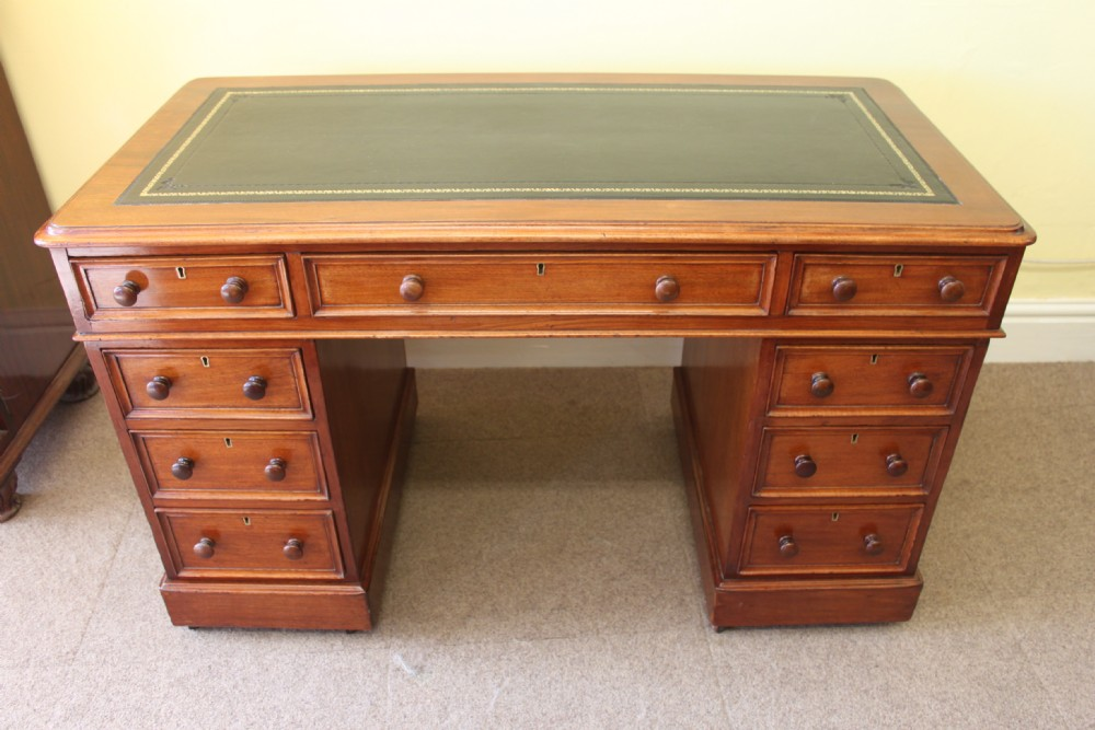 an early victorian mahogany pedestal desk