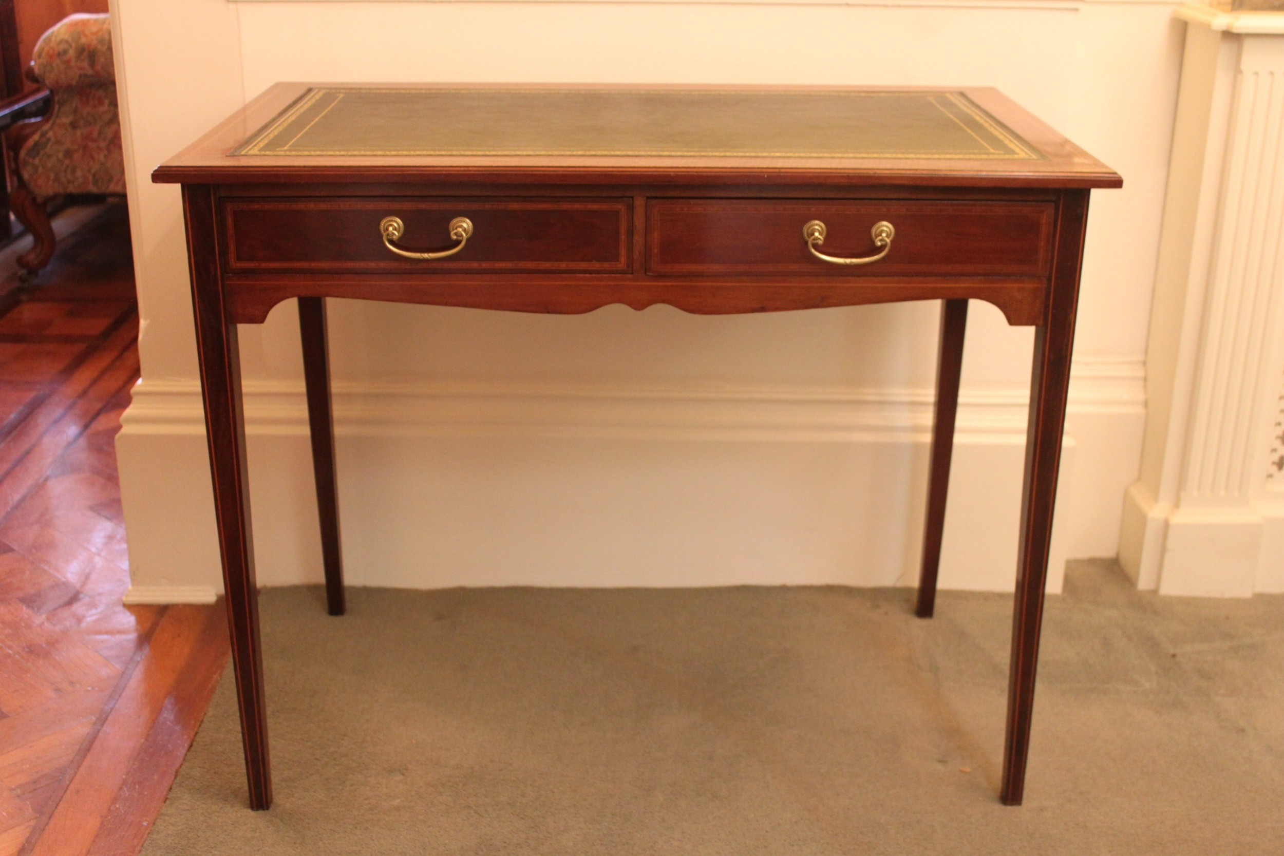 a late 19thearly 20th century inlaid two drawer writing table