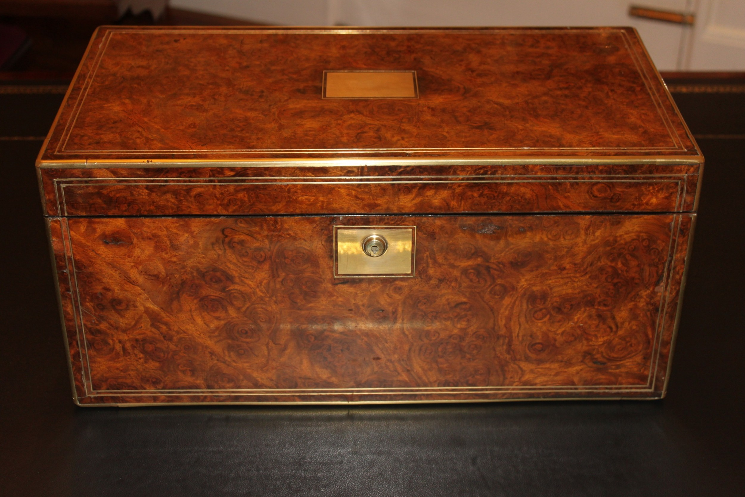 a 19th century top quality burr walnut and brass inlaid writing slope