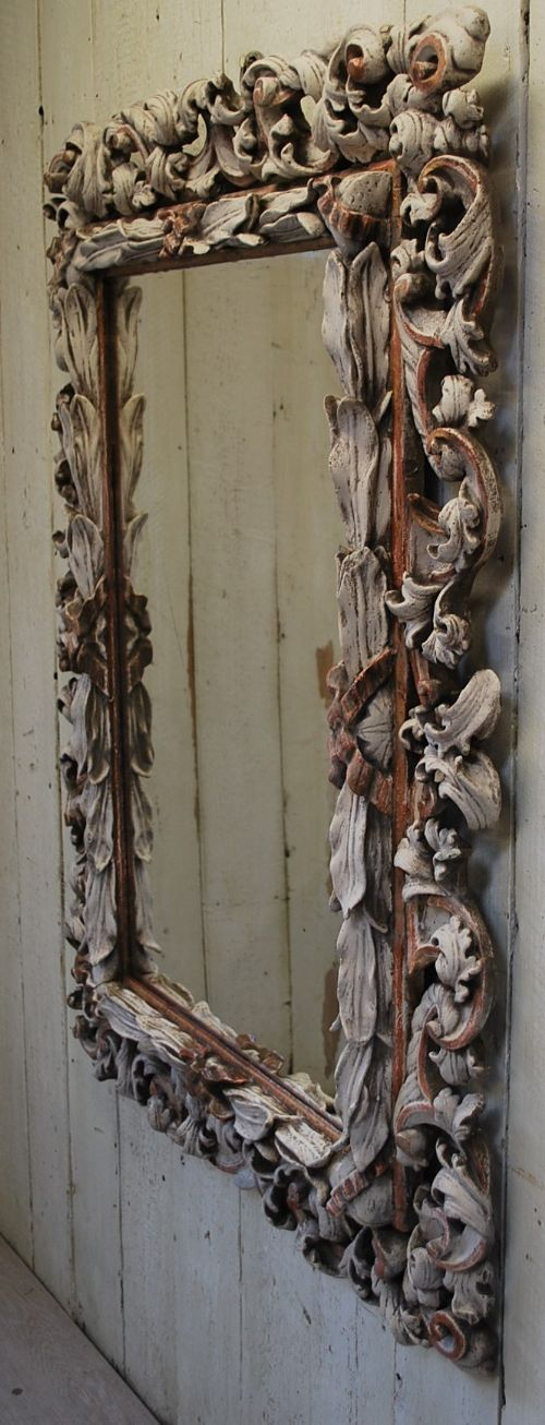 19th century antique italian rococo carved wood wall mirror