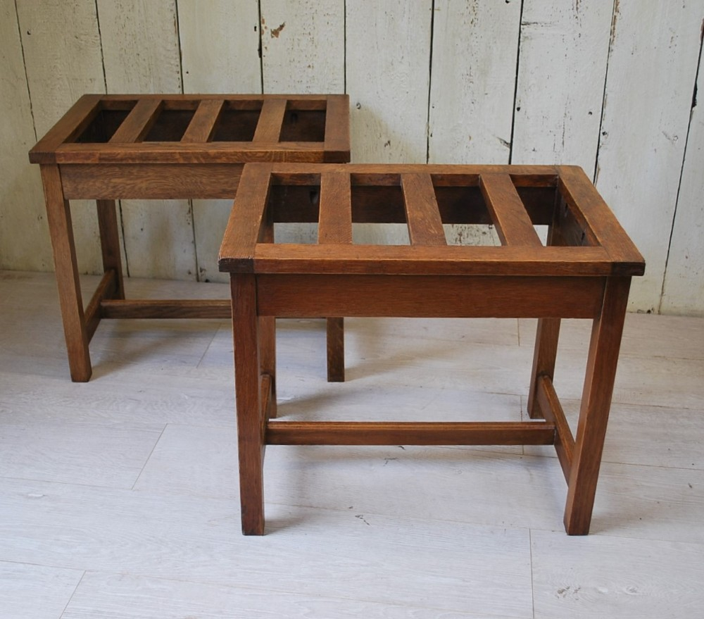 pair of oak luggage stands