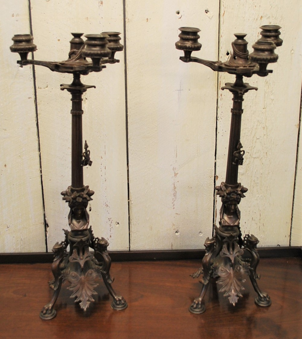 antique pair of french empire style bronze candelabras