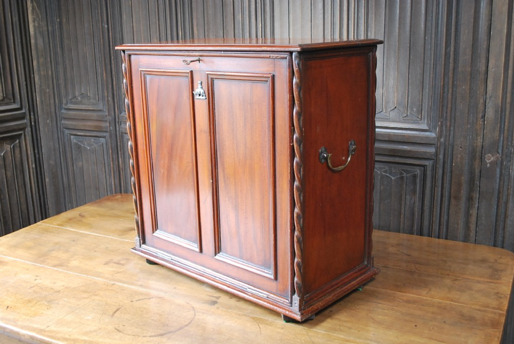 unusual military campaign style table cabinet