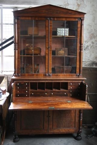 early c19th mahogany secretaire bookcase