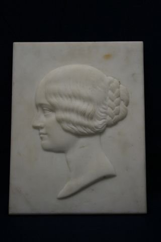 c19th marble relief of young woman