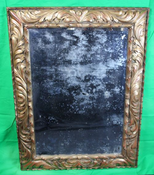 large c19th carved gilt wood mirror