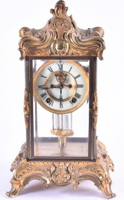 a late c19th four glass ormulo cased mantle clock
