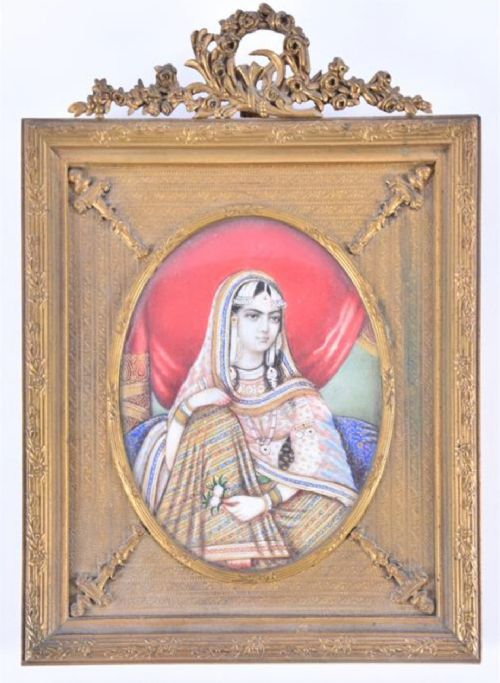 a fine indian portrait of a lady on ivory in an ormolu frame