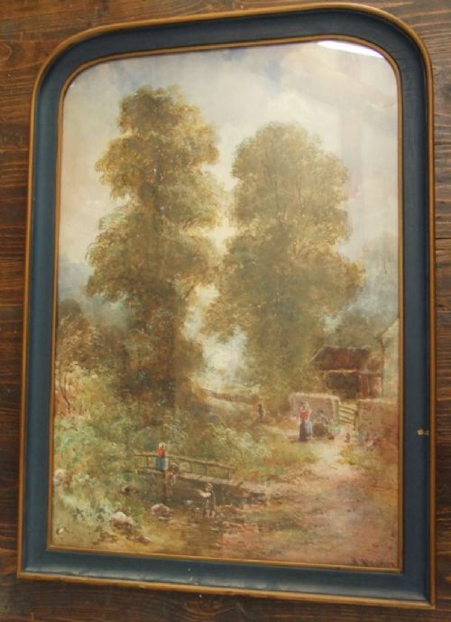 c19th gouache study of a landscape in a painted arched top frame