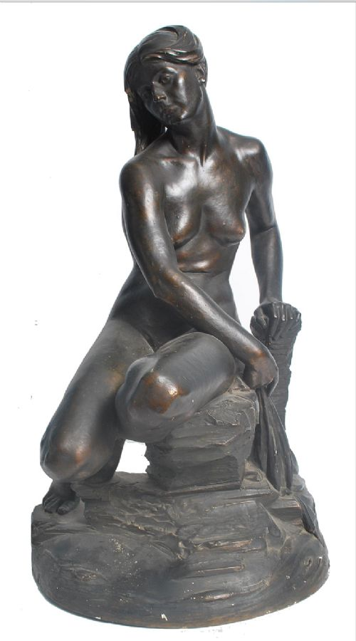 early c20th plaster maquette sculpture with bronze finish