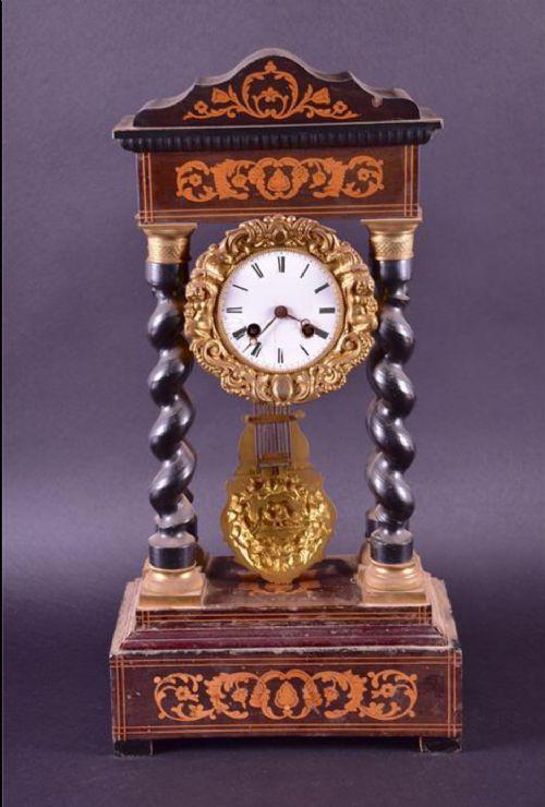 c19th inlaid french portico mantel clock