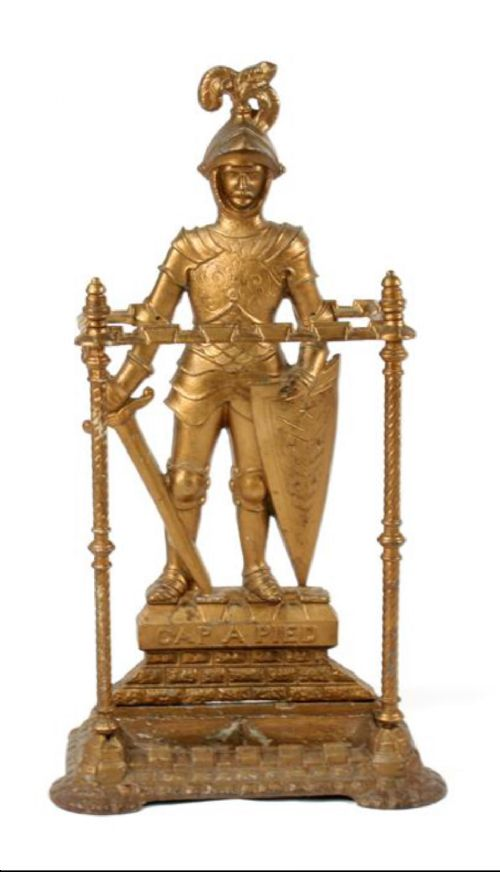 c19th cast iron stick stand of a standing knight