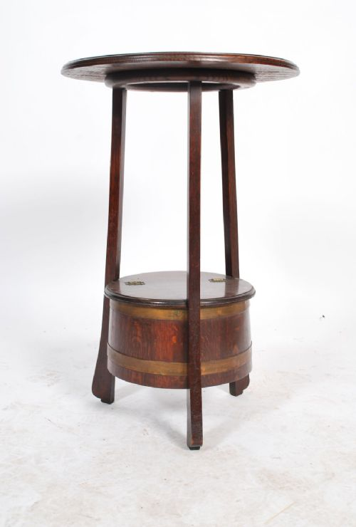 edwardian arts and crafts table with coopered barrelled lidded base