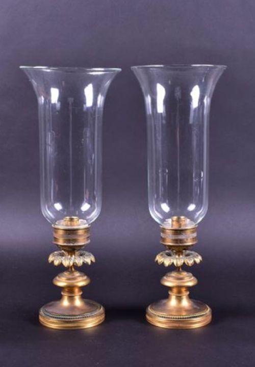 a pair of regency brass storm lanterns