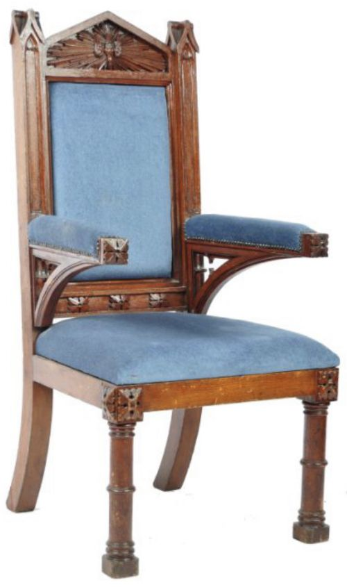 c19th large gothic armchair in oak