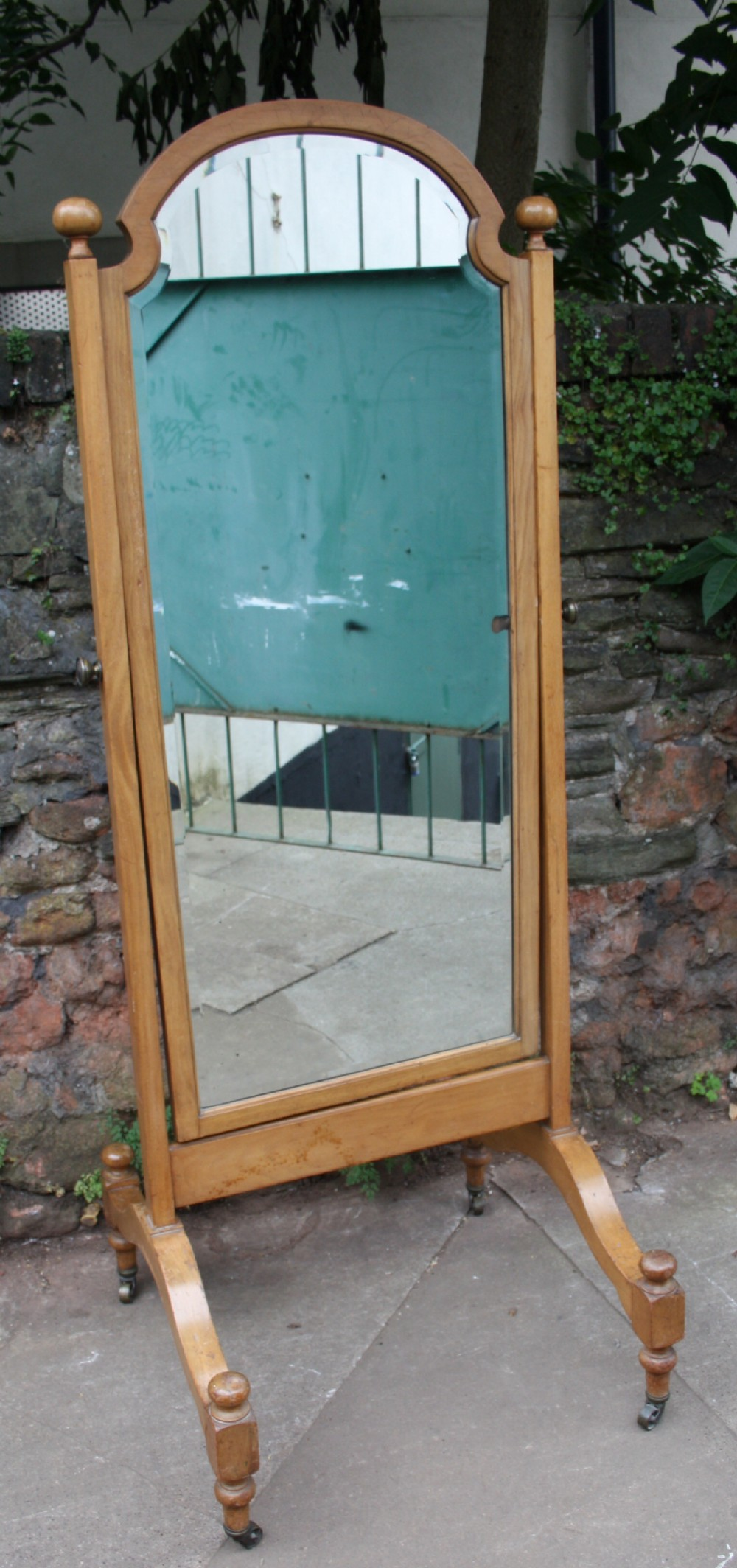 a large shop studio walnut cheval mirror