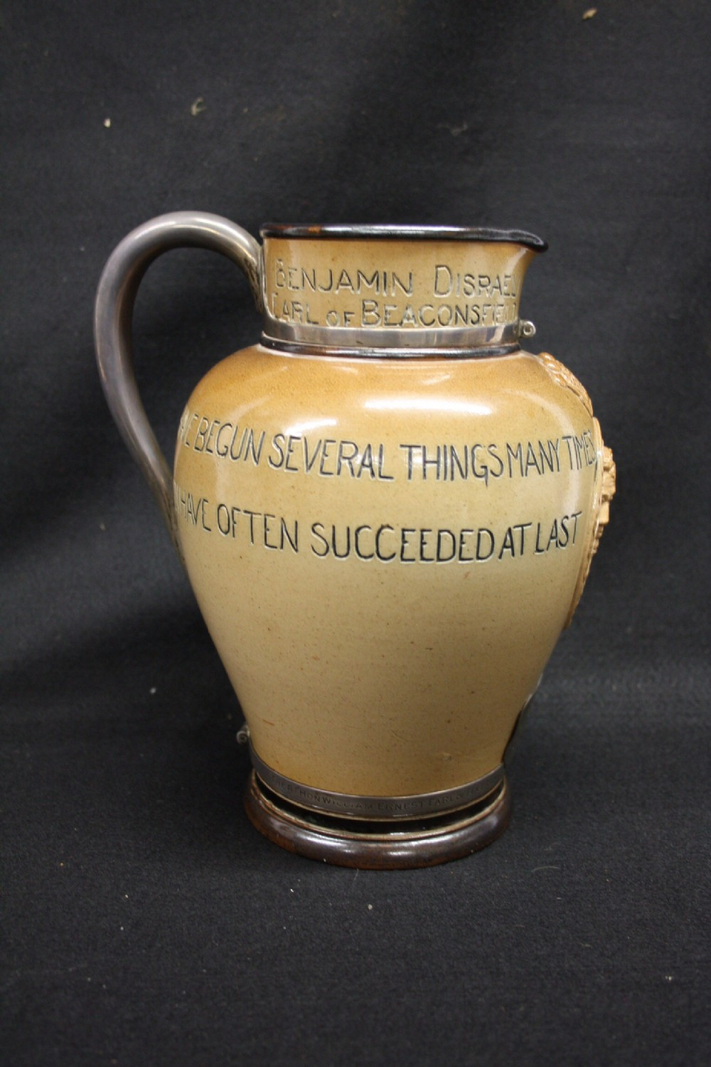rare commerative jug with political interest celebrating the 70th birthday of the earl of feversham by his doctor