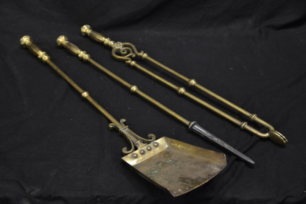 set of three c19th brass fire irons