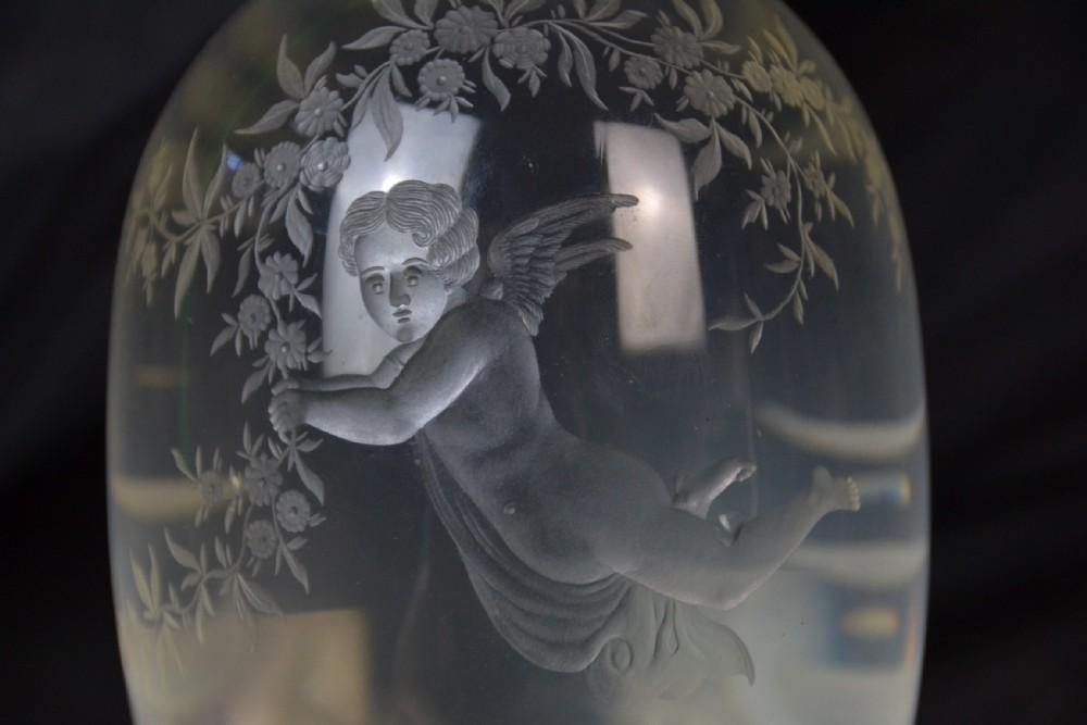edwardian cut glass cherub wine decanter
