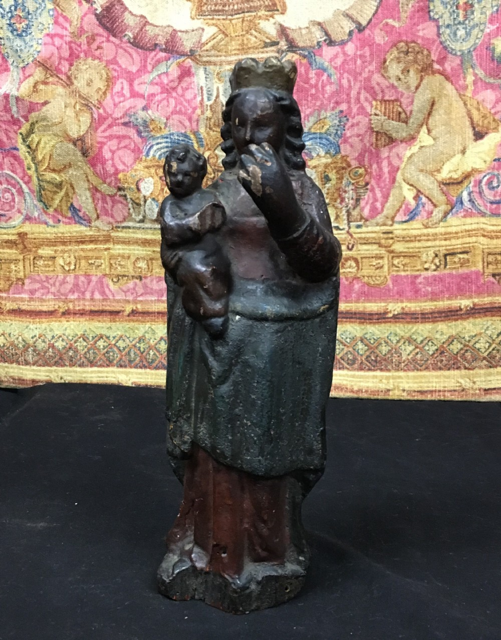 c18th polychrome figure of madonna and child