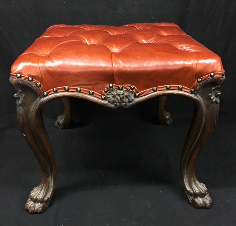 c19th deep buttoned leather mahogany stool