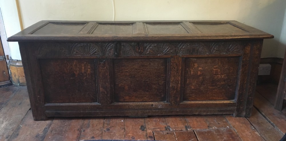 c17th panelled coffer