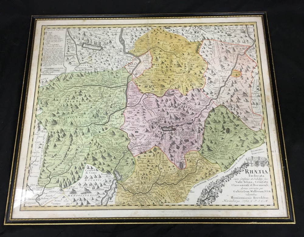 1768 map of the alps by humannianis heridibubus