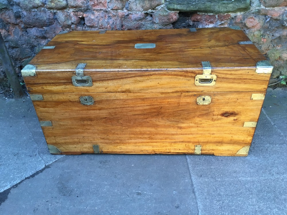 large camphorwood campaign brass mounted trunk