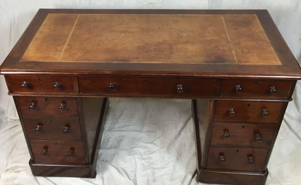 c19th mahogany pedestal desk