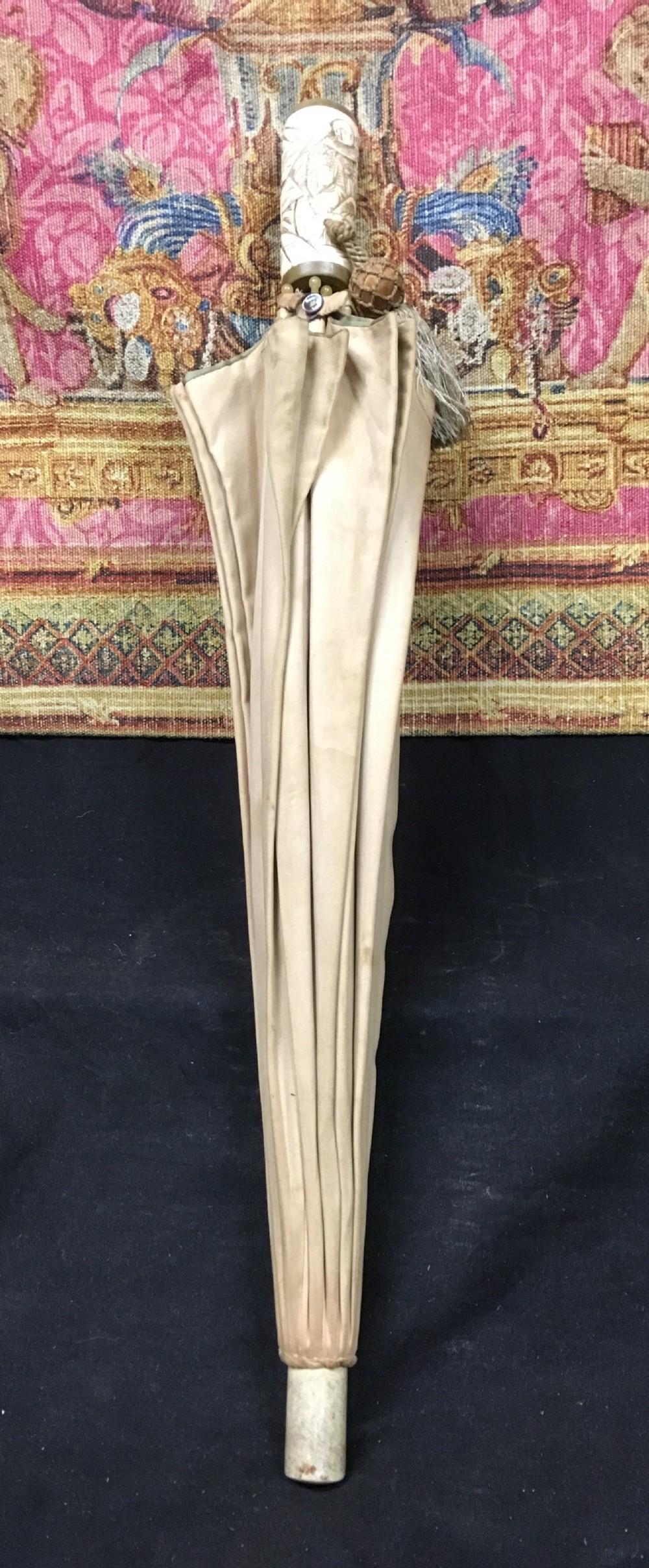 1930s japanese carved handled umbrella