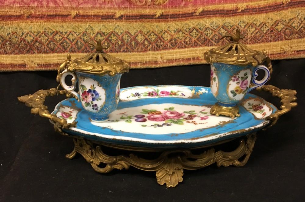 a french ormolo mounted sevres bleu celeste porcelain encrier