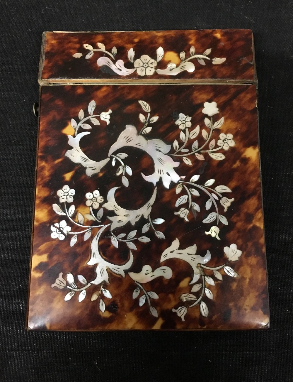 c19th ladies tortoiseshell card case