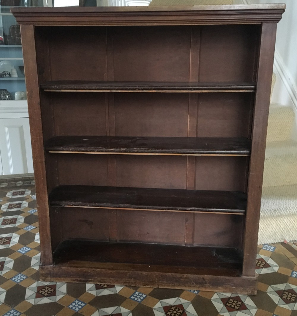 c19th small walnut veneered open bookcase