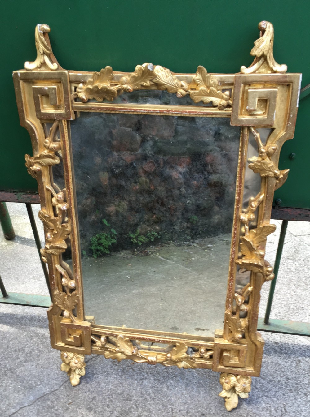 c19th giltwood mirror with oak leaf and acorn decoration