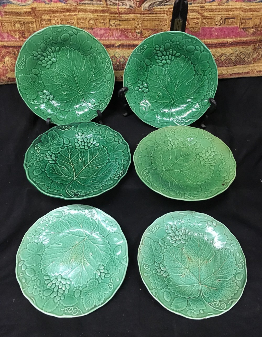 c19th set of six majolica leaf plates