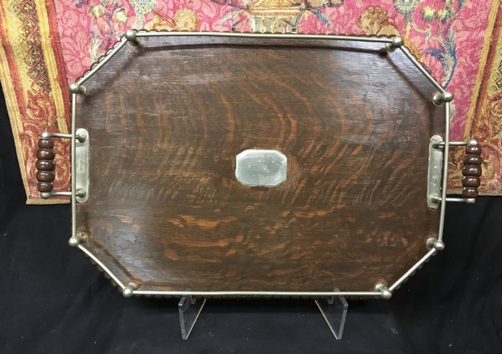 edwardian oak and silver plated galleried tray