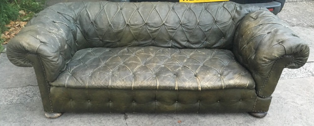 edwardian green leather original covered chesterfield drop arm sofa