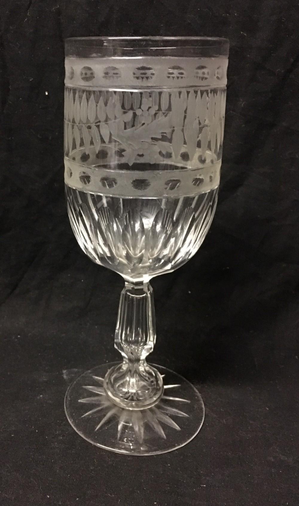 c19th cut glass large wine glassrummer