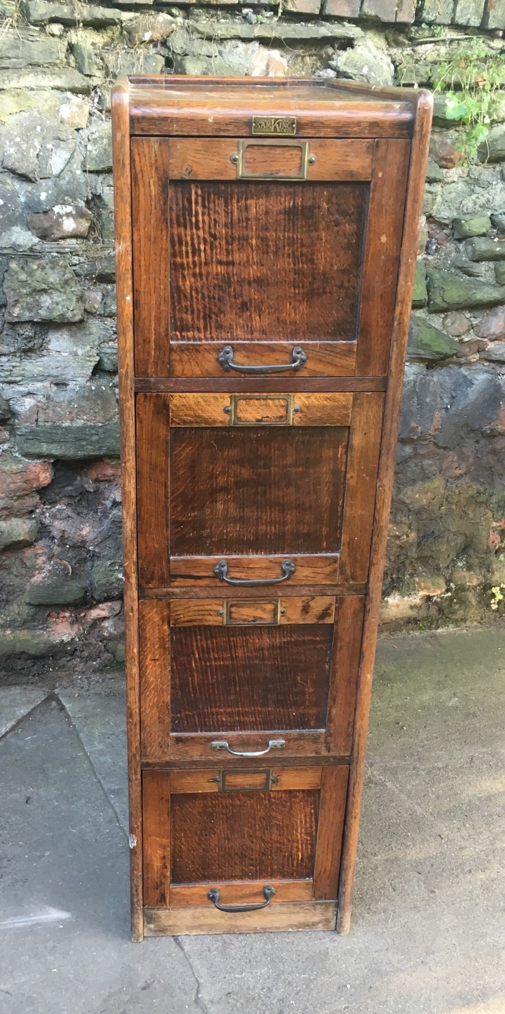 a campbell king 1920s four drawer oak filing cabinet