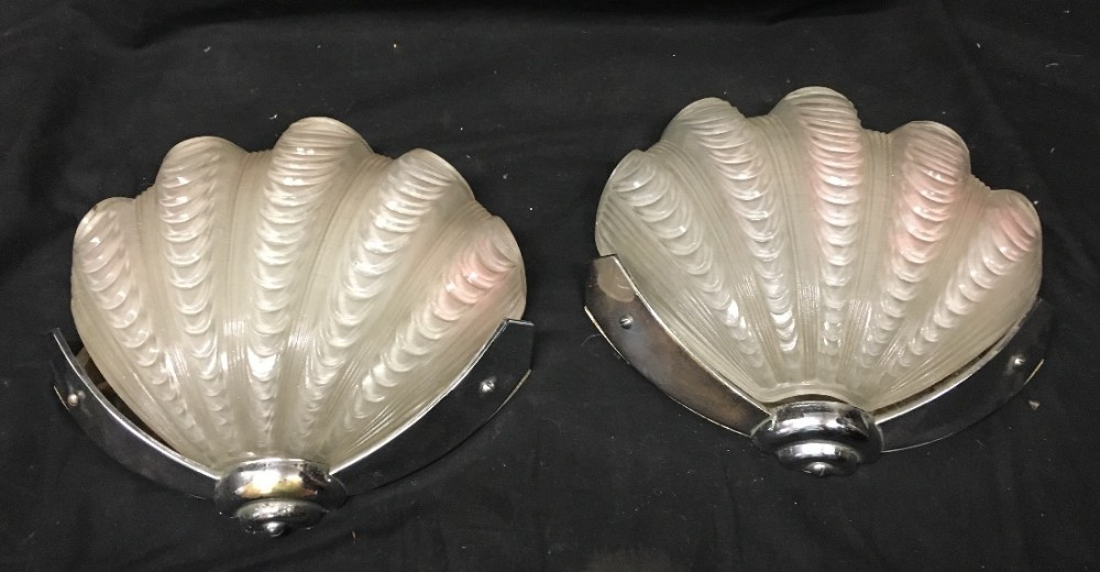 pair of art deco wall lights