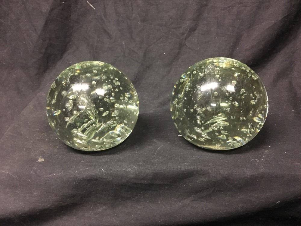 two light green victorian large glass dumps