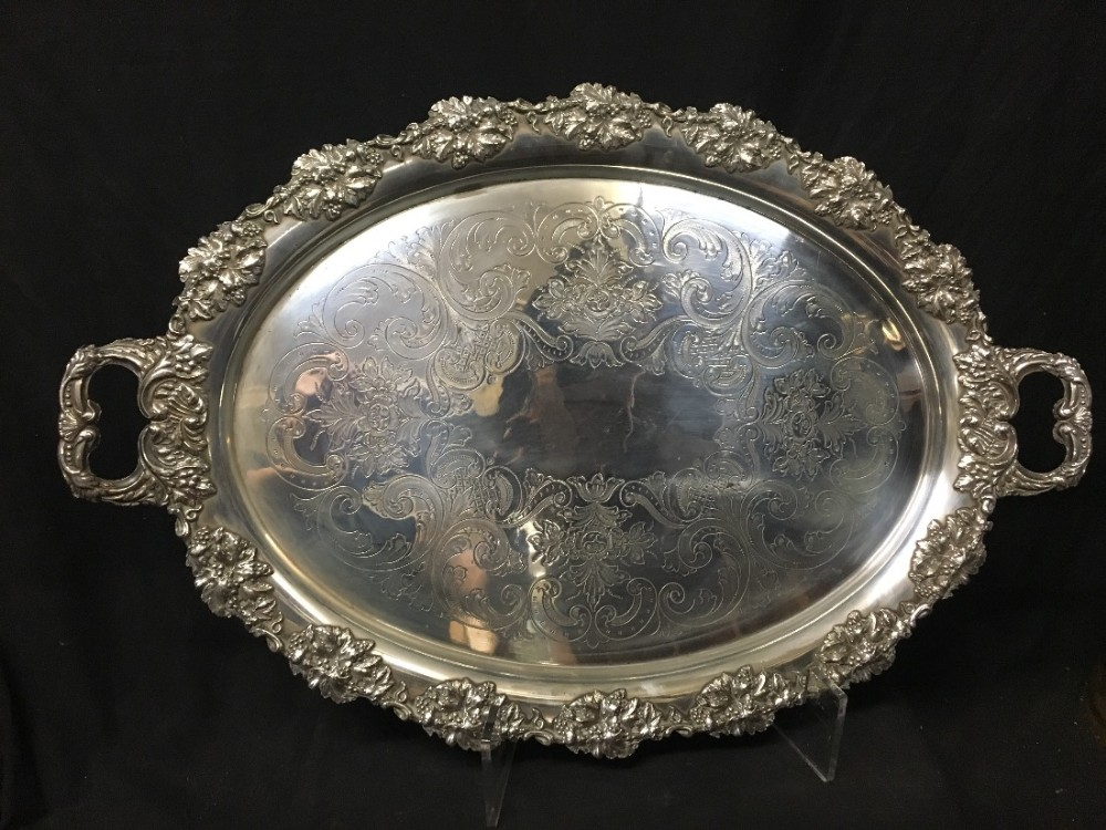 large c19th oval silver plated tray
