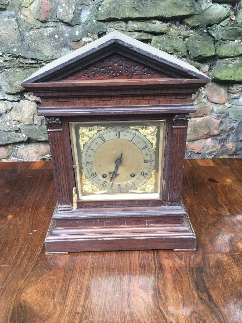 c19th architectural oak cased mantle clock