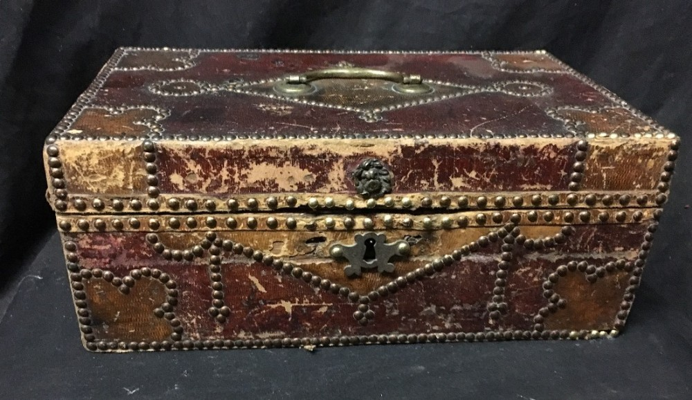 c18th brass studded leather box