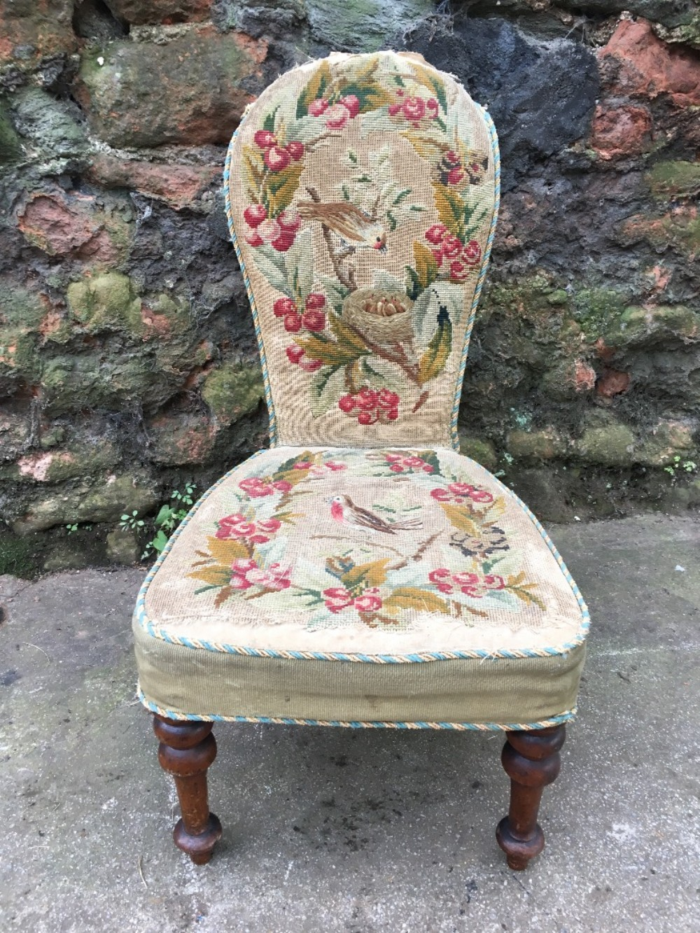 c19th embroidered child's chair