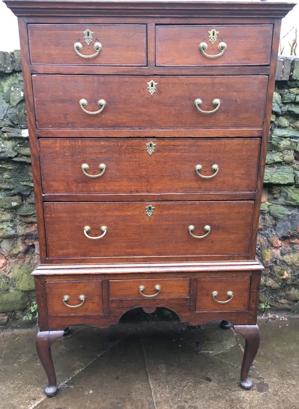 antique oak chest on stand