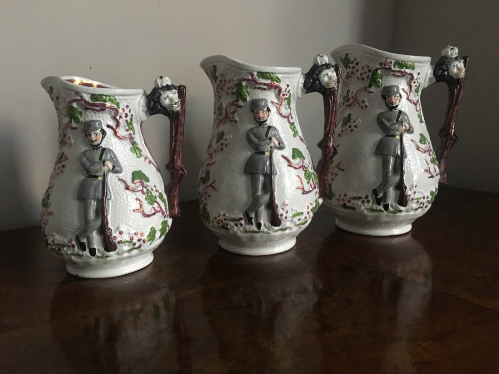 set of three jugs commemorating the crimean war