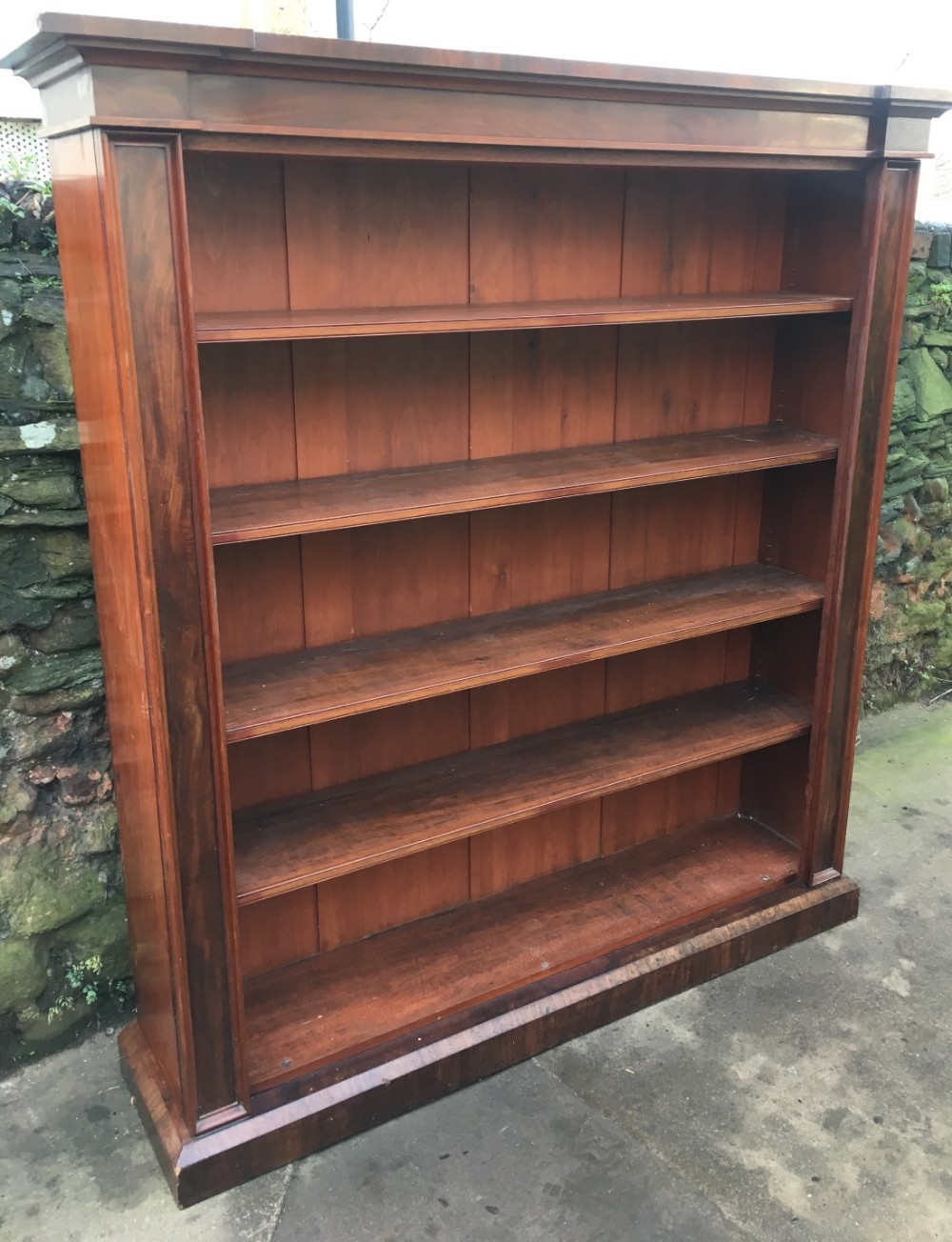 c19th large mahogany open bookcase